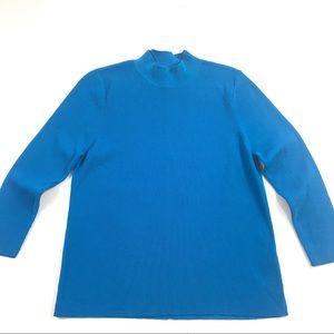Asos Mock Neck Stretch Knit Top Sz 10 Blue